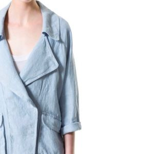 Zara Basic Linen Lightweight Blue Popper Jacket